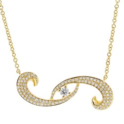 Madison E 0.27ct 14k Yellow Gold Diamond Eye Necklace