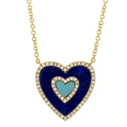 Madison E 0.17ct Diamond & 0.96ct Lapis & Composite Turquoise 14k Yellow Gold Heart Pendant