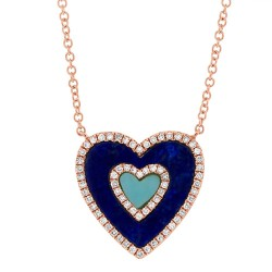 Madison E 0.17ct Diamond & 0.96ct Lapis & Composite Turquoise 14k Rose Gold Heart Pendant