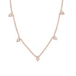 Madison E 0.19ct 14k Rose Gold Diamond Necklace