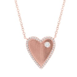 Madison E 0.16ct 14k Rose Gold Diamond Heart Necklace
