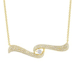 Madison E 0.62ct 14k Yellow Gold Diamond Pave Necklace