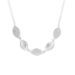 Madison E 0.15ct 14k White Gold Diamond Pave Necklace