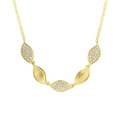Madison E 0.15ct 14k Yellow Gold Diamond Pave Necklace