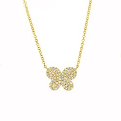 Madison E 0.18ct 14k Yellow Gold Diamond Pave Butterfly Necklace