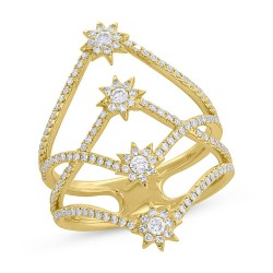 Madison E 0.58ct 14k Yellow Gold Diamond Star Ring