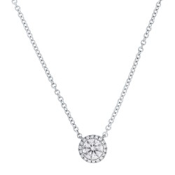 Madison E 0.40ct Round Brilliant Center and 0.06ct Side 14k White Gold Diamond Pendant