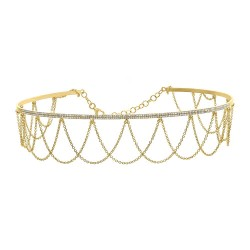 Madison E 0.74ct 14k Yellow Gold Diamond Choker Necklace
