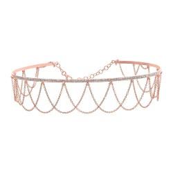 Madison E 0.74ct 14k Rose Gold Diamond Choker Necklace