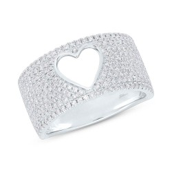 Madison E 0.71ct 14k White Gold Diamond Pave Heart Ring