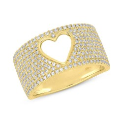 Madison E 0.71ct 14k Yellow Gold Diamond Pave Heart Ring