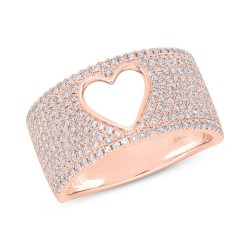 Madison E 0.71ct 14k Rose Gold Diamond Pave Heart Ring
