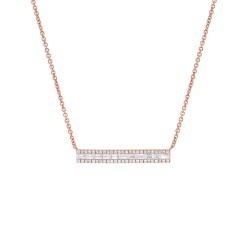 Madison E 0.40ct 14k Rose Gold Diamond Baguette Bar Necklace