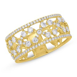 Madison E 0.93ct 14k Yellow Gold Diamond Flower Ring