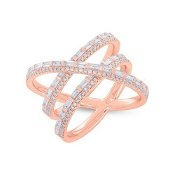 Madison E 1.08ct 14k Rose Gold Diamond Baguette Bridge Ring