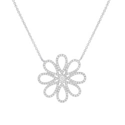 Madison E 0.47ct 14k White Gold Diamond Flower Necklace
