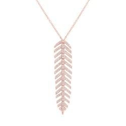 Madison E 0.29ct 14k Rose Gold Diamond Feather Pendant