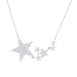 Madison E 0.18ct 14k White Gold Diamond Star Necklace