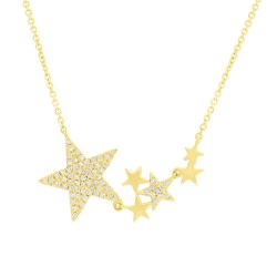 Madison E 0.18ct 14k Yellow Gold Diamond Star Necklace