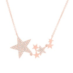 Madison E 0.18ct 14k Rose Gold Diamond Star Necklace