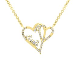 Madison E 0.17ct 14k Yellow Gold Diamond Heart Necklace
