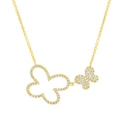Madison E 0.25ct 14k Yellow Gold Diamond Butterfly Necklace