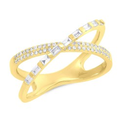 Madison E 0.33ct 14k Yellow Gold Diamond Baguette Bridge Ring