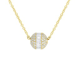 Madison E 0.48ct 14k Yellow Gold Diamond Baguette Barrel Pendant