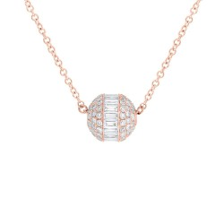 Madison E 0.48ct 14k Rose Gold Diamond Baguette Barrel Pendant