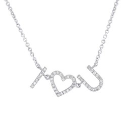 "Madison E 0.12ct 14k White Gold Diamond ""I Heart U"" Necklace"