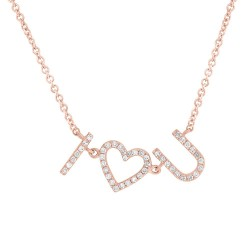 "Madison E 0.12ct 14k Rose Gold Diamond ""I Heart U"" Necklace"