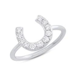Madison E 0.36ct 14k White Gold Diamond Horseshoe Ring