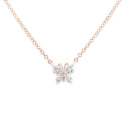 Madison E 0.19ct 14k Rose Gold Diamond Butterfly Pendant