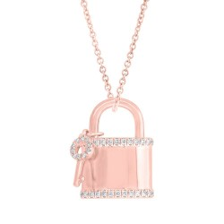 Madison E 0.21ct 14k Rose Gold Diamond Lock & Key Pendant