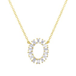 Madison E 0.32ct 14k Yellow Gold Diamond Oval Baguette Pendant