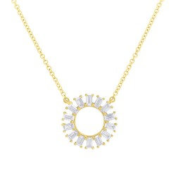 Madison E 0.26ct 14k Yellow Gold Diamond Circle Baguette Pendant