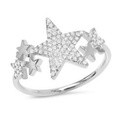 Madison E 0.19ct 14k White Gold Diamond Pave Star Ring