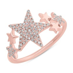 Madison E 0.19ct 14k Rose Gold Diamond Pave Star Ring