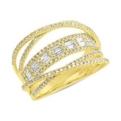 Madison E 0.78ct 14k Yellow Gold Diamond Baguette Bridge Ring
