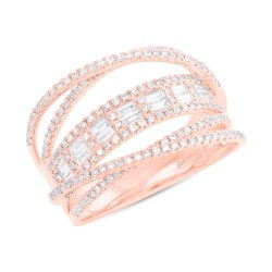 Madison E 0.78ct 14k Rose Gold Diamond Baguette Bridge Ring