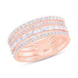 Madison E 0.81ct 14k Rose Gold Diamond Baguette Ring Size 6.5