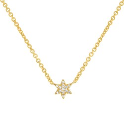 Madison E 0.03ct 14k Yellow Gold Diamond Star of David Necklace