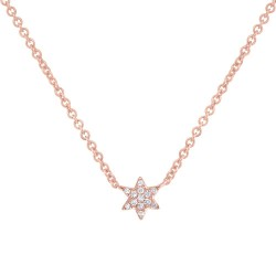 Madison E 0.03ct 14k Rose Gold Diamond Star of David Necklace