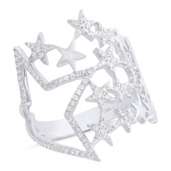 Madison E 0.31ct 14k White Gold Diamond Star Ring