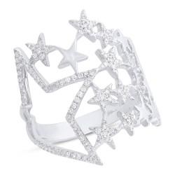 Madison E 0.31ct 14k White Gold Diamond Star Ring