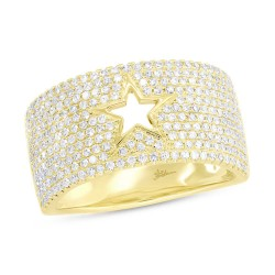 Madison E 0.81ct 14k Yellow Gold Diamond Pave Star Ring
