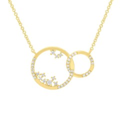 Madison E 0.15ct 14k Yellow Gold Diamond Circle Necklace