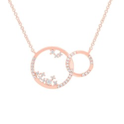 Madison E 0.15ct 14k Rose Gold Diamond Circle Necklace