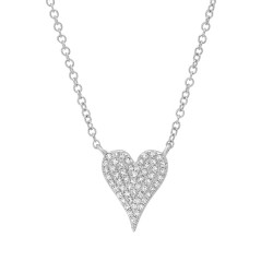 Madison E 0.11ct 14k White Gold Diamond Pave Heart Necklace