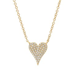 Madison E 0.11ct 14k Yellow Gold Diamond Pave Heart Necklace